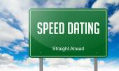 Speed Dating on  Highway Signpost. — Stock Photo