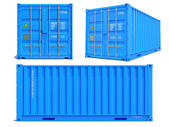 Blue Container in 3D Isolated on White. — Zdjęcie stockowe
