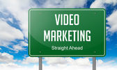 Video Marketing on Highway Signpost. — Стоковое фото