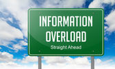 Information Overload on Highway Signpost. — Stock Photo