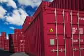 Cargo Containers on Sky Background. — Stock Photo