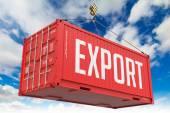 Export - Red Hanging Cargo Container. — Foto de Stock
