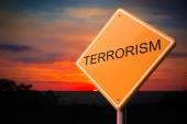 Terrorism Inscription on Warning Road Sign. — Stock Photo