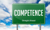 Competence on Green Highway Signpost. — Stock Photo