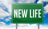 New Life on Green Highway Signpost. — Stock Photo