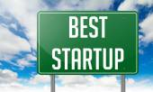 Best Startup on Green Highway Signpost. — Stock Photo