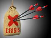 Crisis - Arrows Hit in Red Mark Target. — Stock Photo