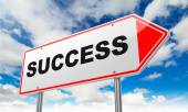 Success on Red Road Sign. — Stock Photo
