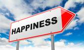 Happiness on Red Road Sign. — Stock Photo