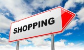 Shopping on Red Road Sign. — Stock Photo