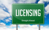 Licensing on Green Highway Signpost. — Foto Stock