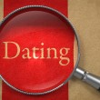 Dating - Magnifying Glass on Old Paper. — Stockfoto #56346929