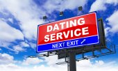 Dating Service Inscription on Red Billboard. — Stock Photo