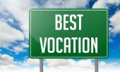 Best Vocation on Green Highway Signpost. — Stock Photo
