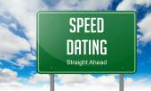 Speed Dating on Green Highway Signpost. — Stock Photo