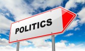 Politics on Red Road Sign. — Stock Photo