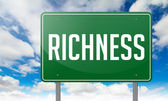 Richness on Green Highway Signpost. — Stock Photo