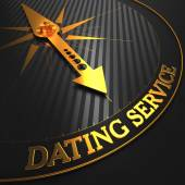 Dating Service - Golden Compass Needle. — Stock Photo