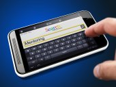 Mentoring in Search String on Smartphone. — Stock Photo