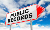 Public Records on Red Road Sign. — Stock Photo