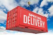 Special Delivery - Red Hanging Cargo Container. — Stock Photo