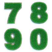 Digits 7, 8, 9, 0 of Green Lawn. — Stock Photo