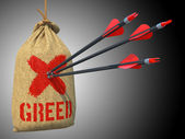Greed - Arrows Hit in Red Target. — Stock Photo