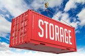 Storage - Red Hanging Cargo Container. — Stok fotoğraf