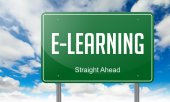 E-Learning on Highway Signpost. — Stock Photo