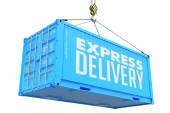Express Delivery - Red Hanging Cargo Container. — ストック写真