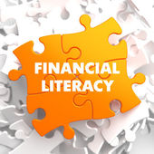 Financial Literacy on Orange Puzzle. — Stock Photo