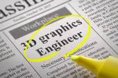 Graphics 3D Engineer Vacancy in Newspaper. — Stock Photo