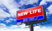 New Life Inscription on Red Billboard. — Stock Photo