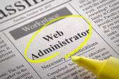 Web Administrator Vacancy in Newspaper. — Stock Photo