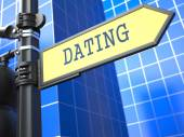 Dating - Signpost on Blue Background. — Stock Photo