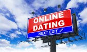 Online Dating  Inscription on Red Billboard. — Stock Photo