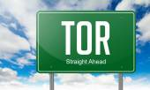 TOR on Green Highway Signpost. — Stock Photo