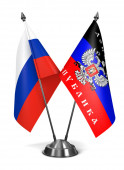 Russia and Donetsk Peoples Republic - Miniature Flags. — Stock Photo