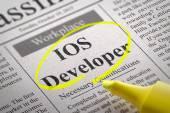 IOS Developer Vacancy in Newspaper. — Stock Photo