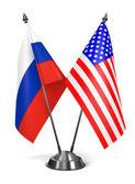 Russia and USA - Miniature Flags. — Stock fotografie