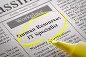Human Resources IT Specialist Vacancy in Newspaper. — Stock Photo