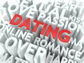 Dating - Red Word Cloud Concept. — Stock Photo