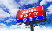 Online Identity on Red Billboard. — Stock Photo