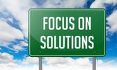 Focus on Solutions in Highway Signpost. — Stock Photo