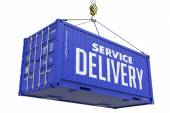 Service Delivery - Blue Hanging Cargo Container. — Stock Photo