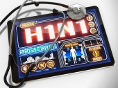 H1N1 on the Display of Medical Tablet. — Stockfoto