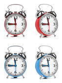 Colorful Old Style Alarm Clocks. — Stock Photo
