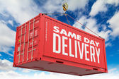 Same Day Delivery - Red Hanging Cargo Container. — Stock Photo