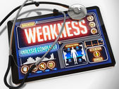 Weakness Diagnosis on the Display of Medical Tablet. — Stock Photo