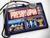 Presbyopia Diagnosis on the Display of Medical Tablet. — Stock Photo